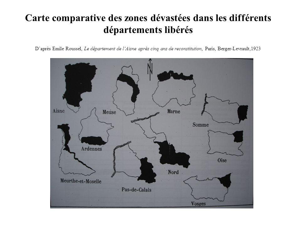 Carte comparative des zones dévastées dans les différents départements libérés Daprès Emile Roussel, Le département de lAisne après cinq ans de recons