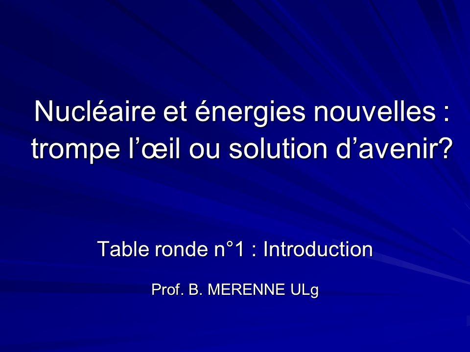 Nucléaire et énergies nouvelles : trompe lœil ou solution davenir? Table ronde n°1 : Introduction Prof. B. MERENNE ULg