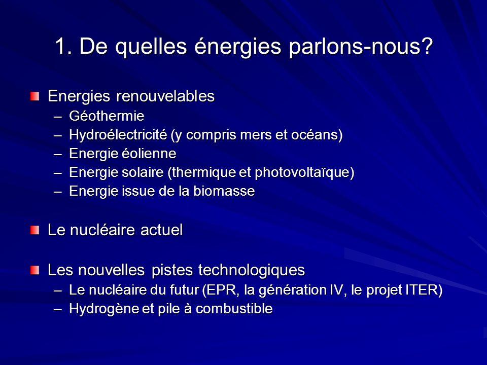 1. De quelles énergies parlons-nous? Energies renouvelables –Géothermie –Hydroélectricité (y compris mers et océans) –Energie éolienne –Energie solair
