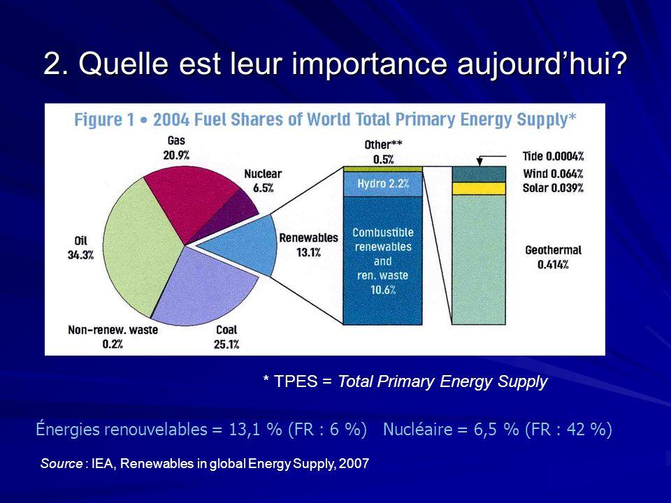 2. Quelle est leur importance aujourdhui? Énergies renouvelables = 13,1 % (FR : 6 %) Nucléaire = 6,5 % (FR : 42 %) Source : IEA, Renewables in global