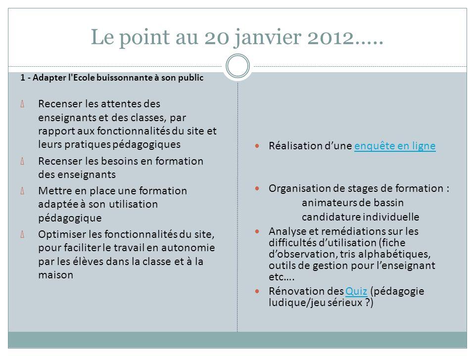 Le point au 20 janvier 2012….. 1 - Adapter l'Ecole buissonnante à son public Δ Recenser les attentes des enseignants et des classes, par rapport aux f