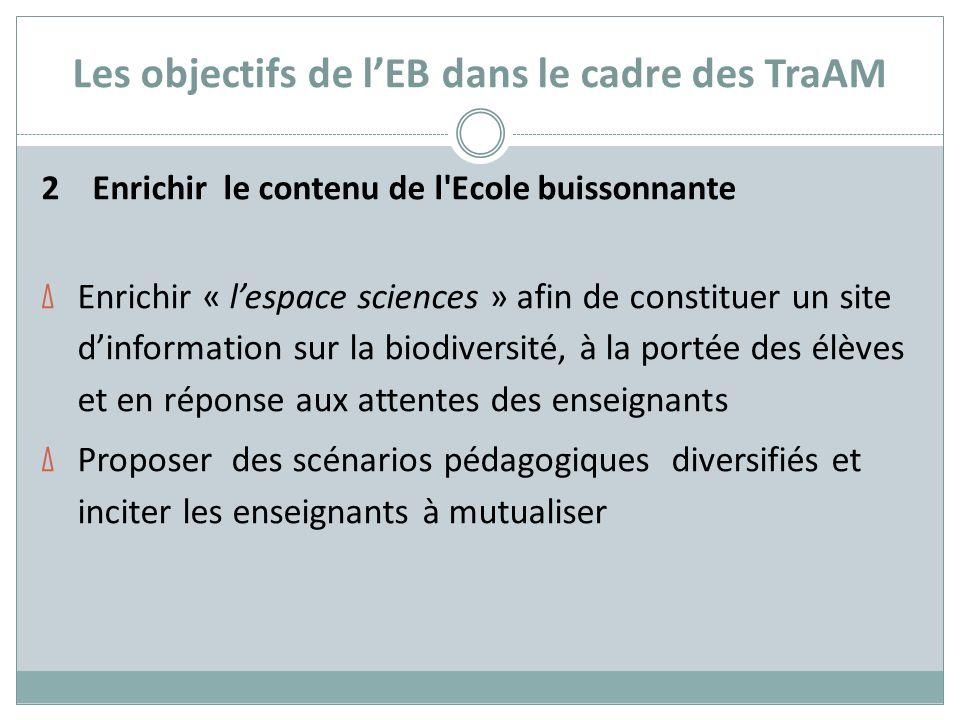 Les objectifs de lEB dans le cadre des TraAM 2 Enrichir le contenu de l'Ecole buissonnante Δ Enrichir « lespace sciences » afin de constituer un site