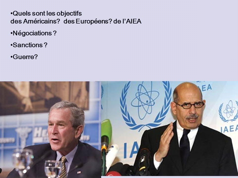 Quels sont les objectifs des Américains? des Européens? de lAIEA Négociations ? Sanctions ? Guerre?