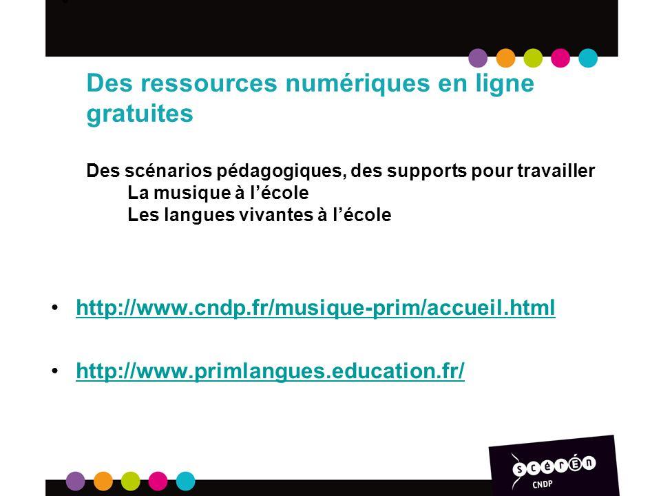 Banque de Séquences Didactiques (BSD): extraits vidéos de classe, analysées par le PE, des professeurs IUFM, des IEN ou CPC: http://www.cndp.fr/bsd/index.aspx http://www.cndp.fr/bsd/index.aspx 9 contes de Perrault: http://www.cndp.fr/actualites/neuf- contes-de-perrault-en-ligne.htmlhttp://www.cndp.fr/actualites/neuf- contes-de-perrault-en-ligne.html 16 lettres de Mon Moulin dAlphonse Daudet, une bibliographe, un accompagnement pédagogique, des jeux de lecture: http://www.cndp.fr/daudet.html http://www.cndp.fr/daudet.html