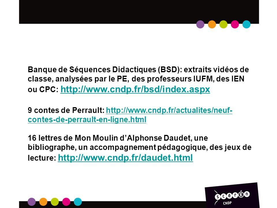 Banque de Séquences Didactiques (BSD): extraits vidéos de classe, analysées par le PE, des professeurs IUFM, des IEN ou CPC: http://www.cndp.fr/bsd/in