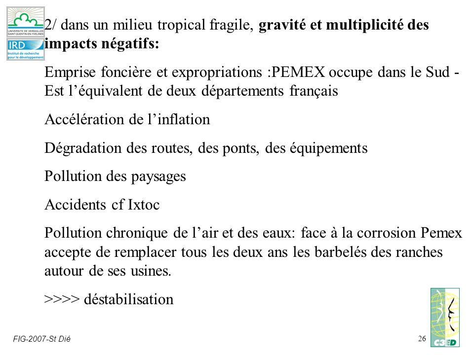 FIG-2007-St Dié26 2/ dans un milieu tropical fragile, gravité et multiplicité des impacts négatifs: Emprise foncière et expropriations :PEMEX occupe d