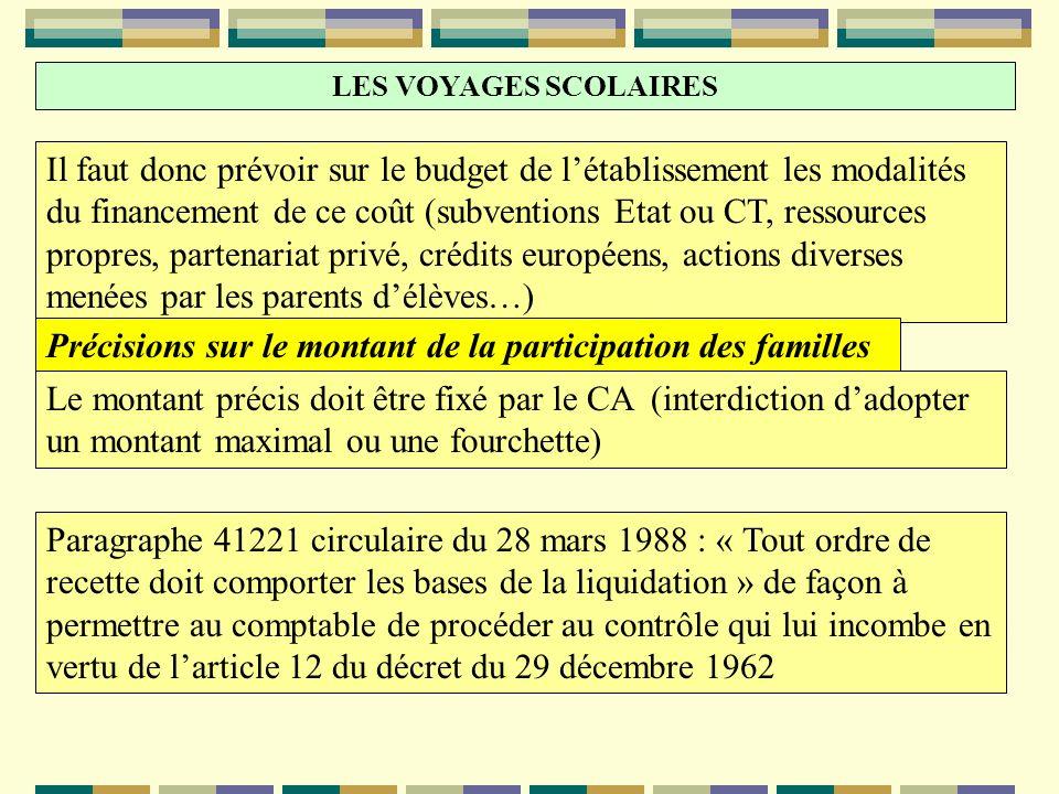 LES VOYAGES SCOLAIRES Il faut donc prévoir sur le budget de létablissement les modalités du financement de ce coût (subventions Etat ou CT, ressources