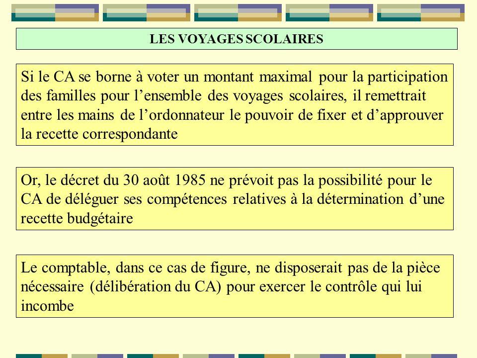 LES VOYAGES SCOLAIRES Si le CA se borne à voter un montant maximal pour la participation des familles pour lensemble des voyages scolaires, il remettr