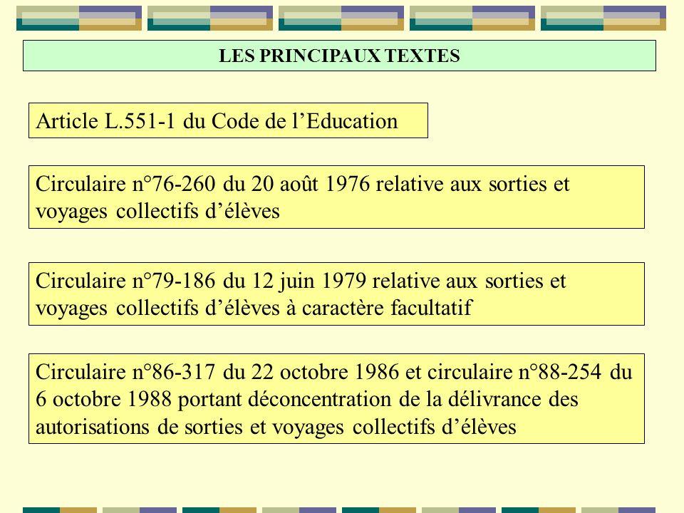 Article L.551-1 du Code de lEducation Circulaire n°76-260 du 20 août 1976 relative aux sorties et voyages collectifs délèves Circulaire n°79-186 du 12