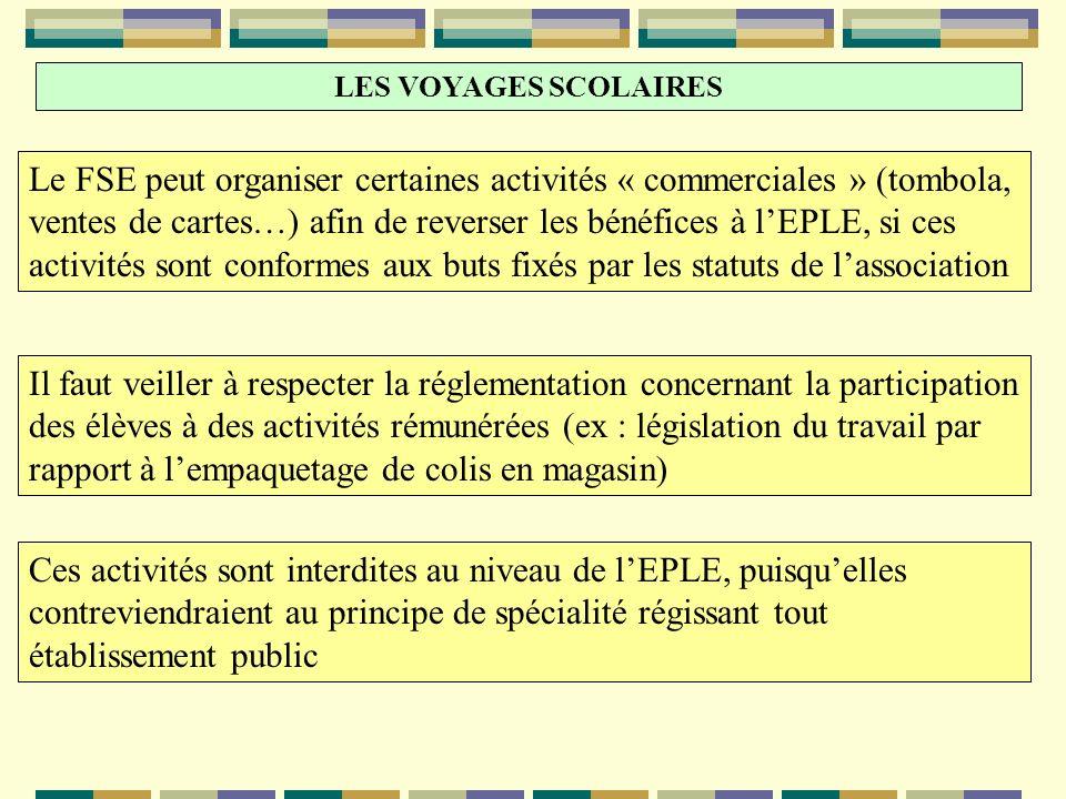 LES VOYAGES SCOLAIRES Le FSE peut organiser certaines activités « commerciales » (tombola, ventes de cartes…) afin de reverser les bénéfices à lEPLE,