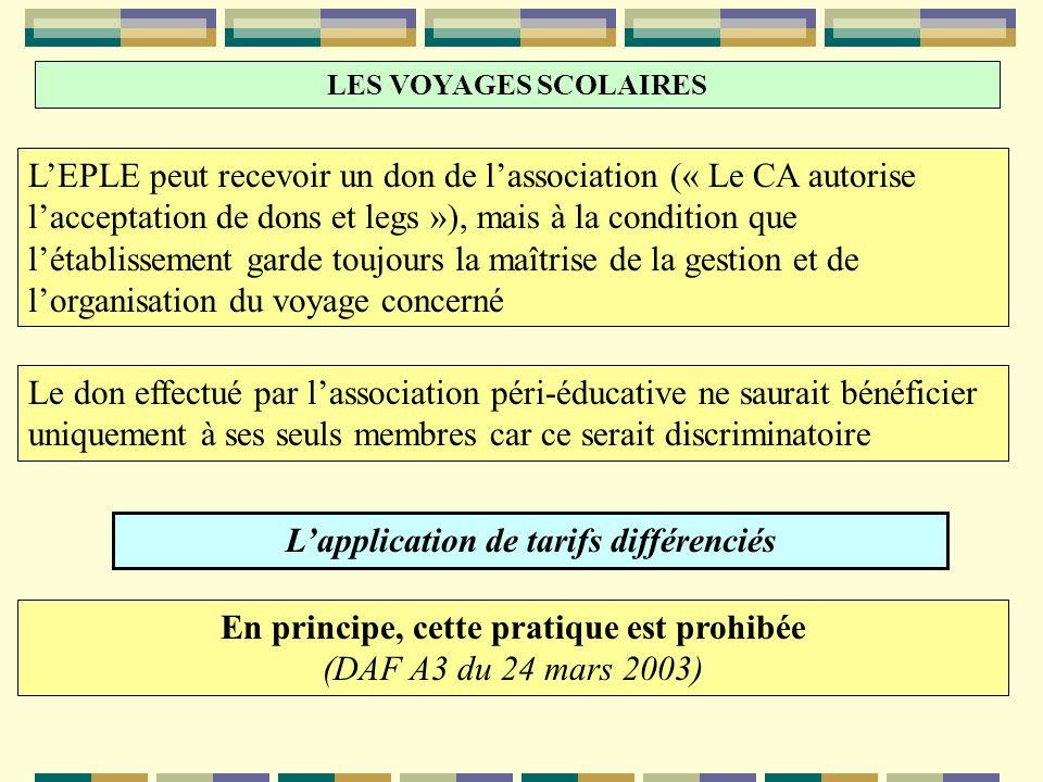 LES VOYAGES SCOLAIRES LEPLE peut recevoir un don de lassociation (« Le CA autorise lacceptation de dons et legs »), mais à la condition que létablisse