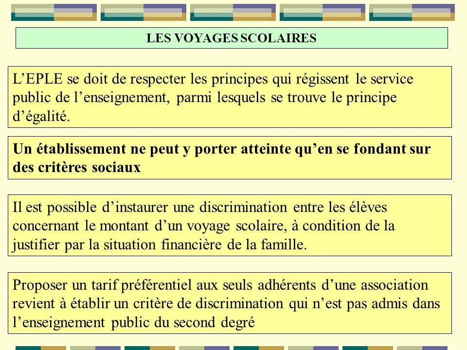 LES VOYAGES SCOLAIRES LEPLE se doit de respecter les principes qui régissent le service public de lenseignement, parmi lesquels se trouve le principe