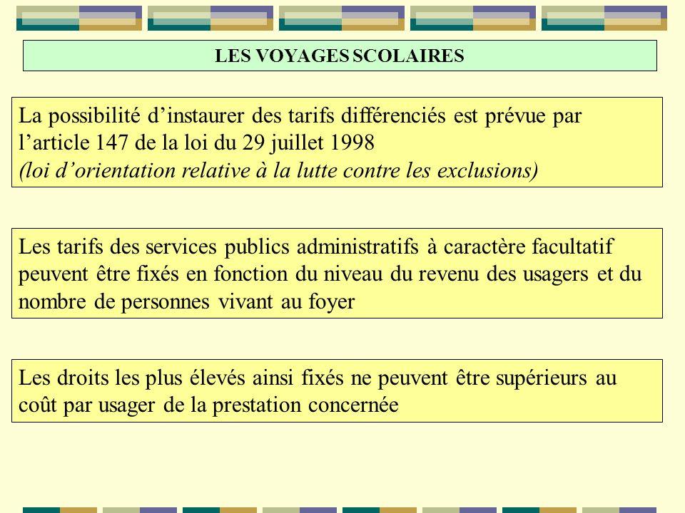 LES VOYAGES SCOLAIRES La possibilité dinstaurer des tarifs différenciés est prévue par larticle 147 de la loi du 29 juillet 1998 (loi dorientation rel