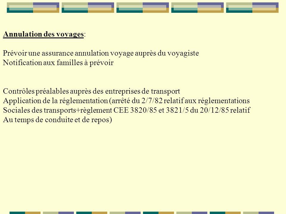 Annulation des voyages: Prévoir une assurance annulation voyage auprès du voyagiste Notification aux familles à prévoir Contrôles préalables auprès de