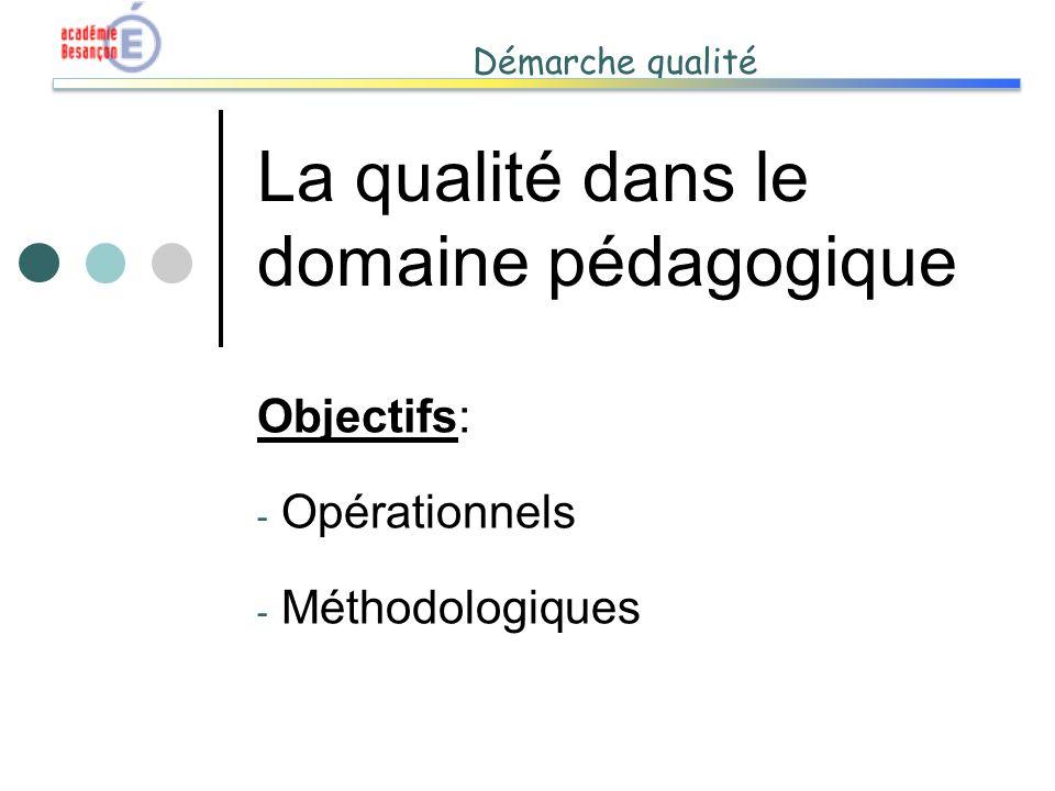 Démarche qualité La qualité dans le domaine pédagogique Objectifs: - Opérationnels - Méthodologiques