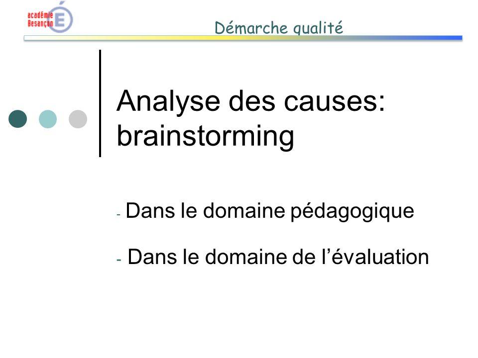 Démarche qualité Analyse des causes: brainstorming - Dans le domaine pédagogique - Dans le domaine de lévaluation