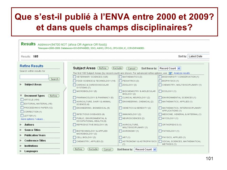 101 Que sest-il publié à lENVA entre 2000 et 2009? et dans quels champs disciplinaires?