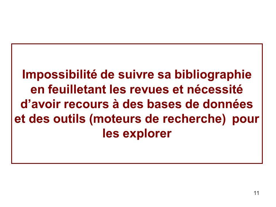 11 Impossibilité de suivre sa bibliographie en feuilletant les revues et nécessité davoir recours à des bases de données et des outils (moteurs de recherche) pour les explorer