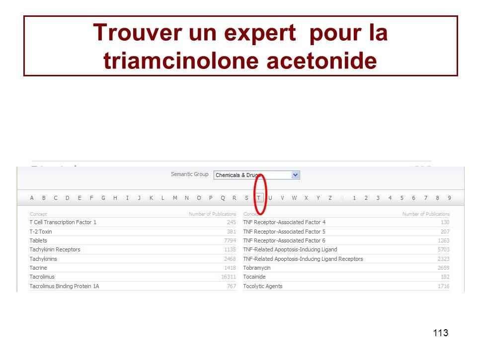 113 Trouver un expert pour la triamcinolone acetonide