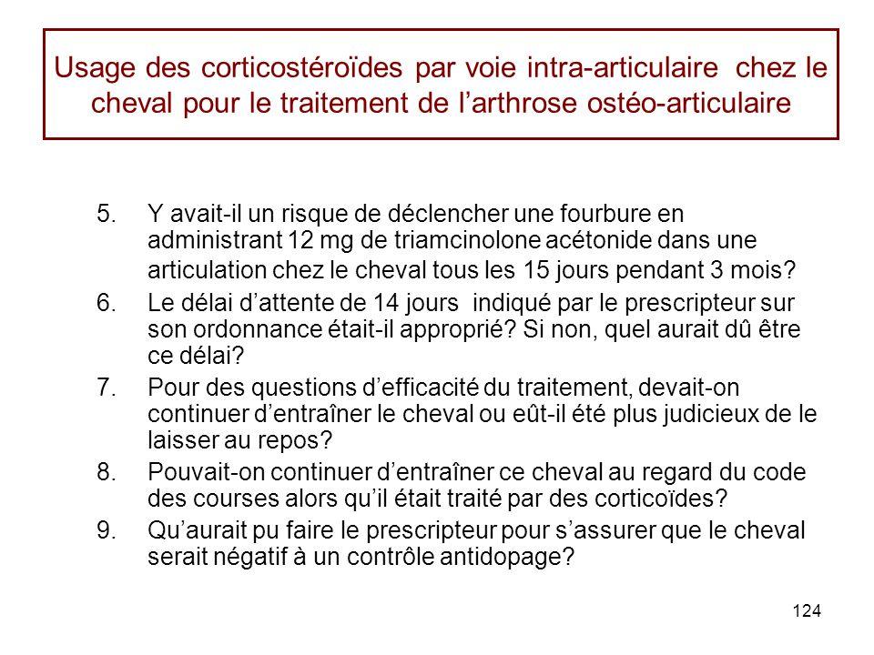 124 Usage des corticostéroïdes par voie intra-articulaire chez le cheval pour le traitement de larthrose ostéo-articulaire 5.Y avait-il un risque de déclencher une fourbure en administrant 12 mg de triamcinolone acétonide dans une articulation chez le cheval tous les 15 jours pendant 3 mois.