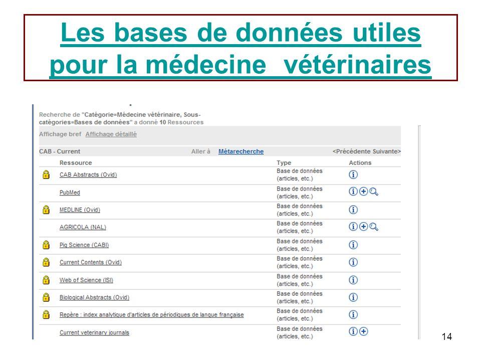 14 Les bases de données utiles pour la médecine vétérinaires