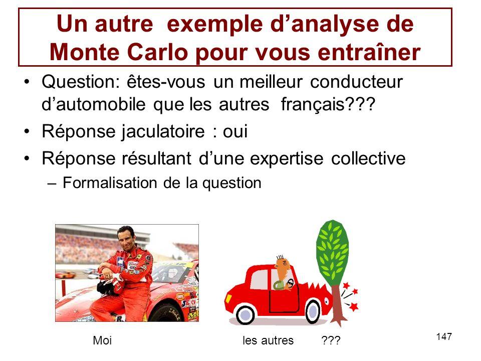 147 Un autre exemple danalyse de Monte Carlo pour vous entraîner Question: êtes-vous un meilleur conducteur dautomobile que les autres français??? Rép