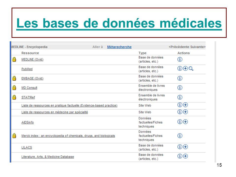 15 Les bases de données médicales