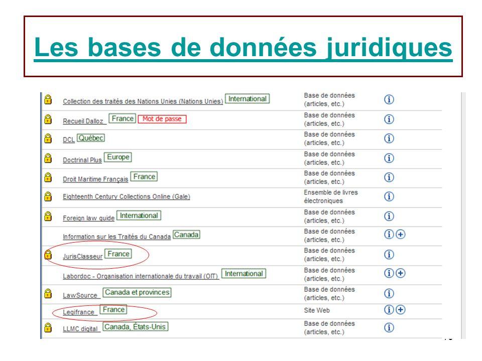 16 Les bases de données juridiques