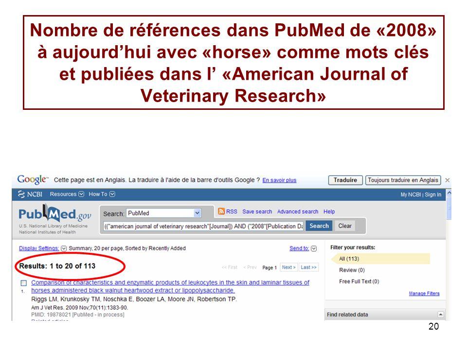 20 Nombre de références dans PubMed de «2008» à aujourdhui avec «horse» comme mots clés et publiées dans l «American Journal of Veterinary Research»