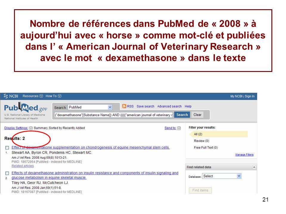 21 Nombre de références dans PubMed de « 2008 » à aujourdhui avec « horse » comme mot-clé et publiées dans l « American Journal of Veterinary Research » avec le mot « dexamethasone » dans le texte