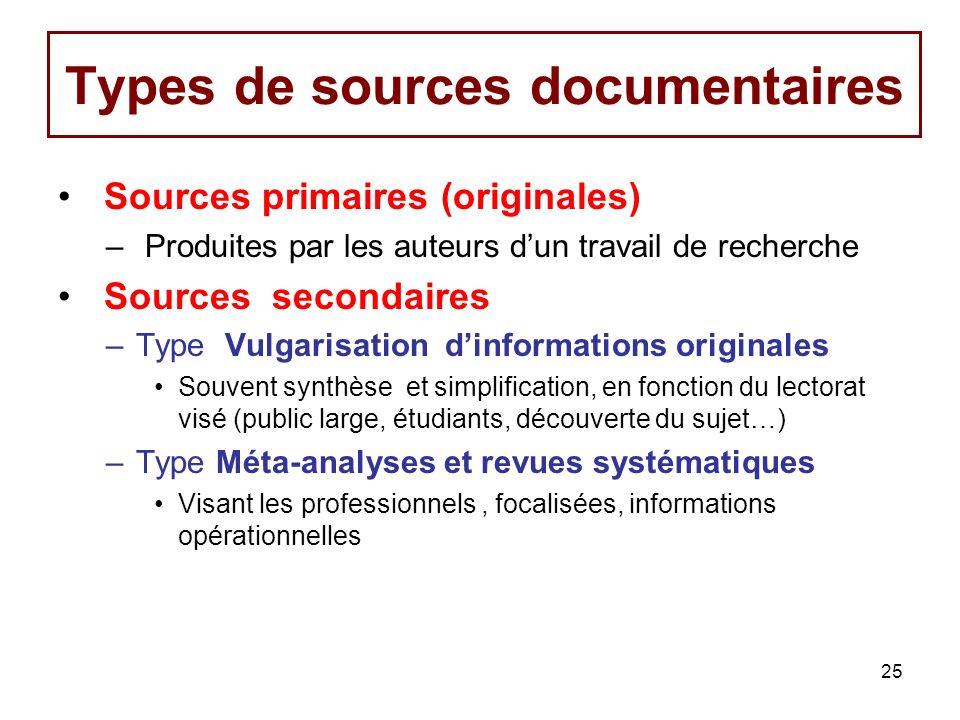 25 Types de sources documentaires Sources primaires (originales) – Produites par les auteurs dun travail de recherche Sources secondaires –Type Vulgar