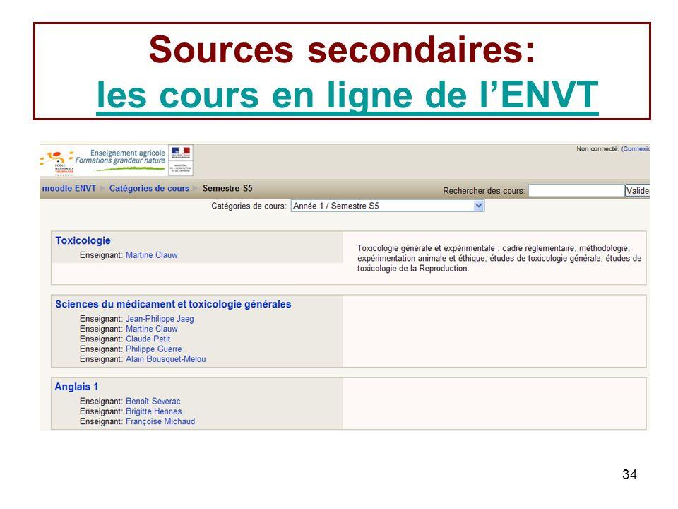 34 Sources secondaires: les cours en ligne de lENVTles cours en ligne de lENVT