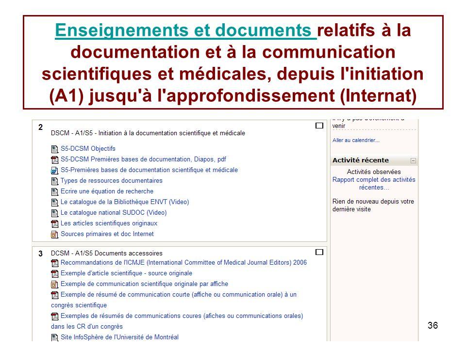 36 Enseignements et documents Enseignements et documents relatifs à la documentation et à la communication scientifiques et médicales, depuis l initiation (A1) jusqu à l approfondissement (Internat)