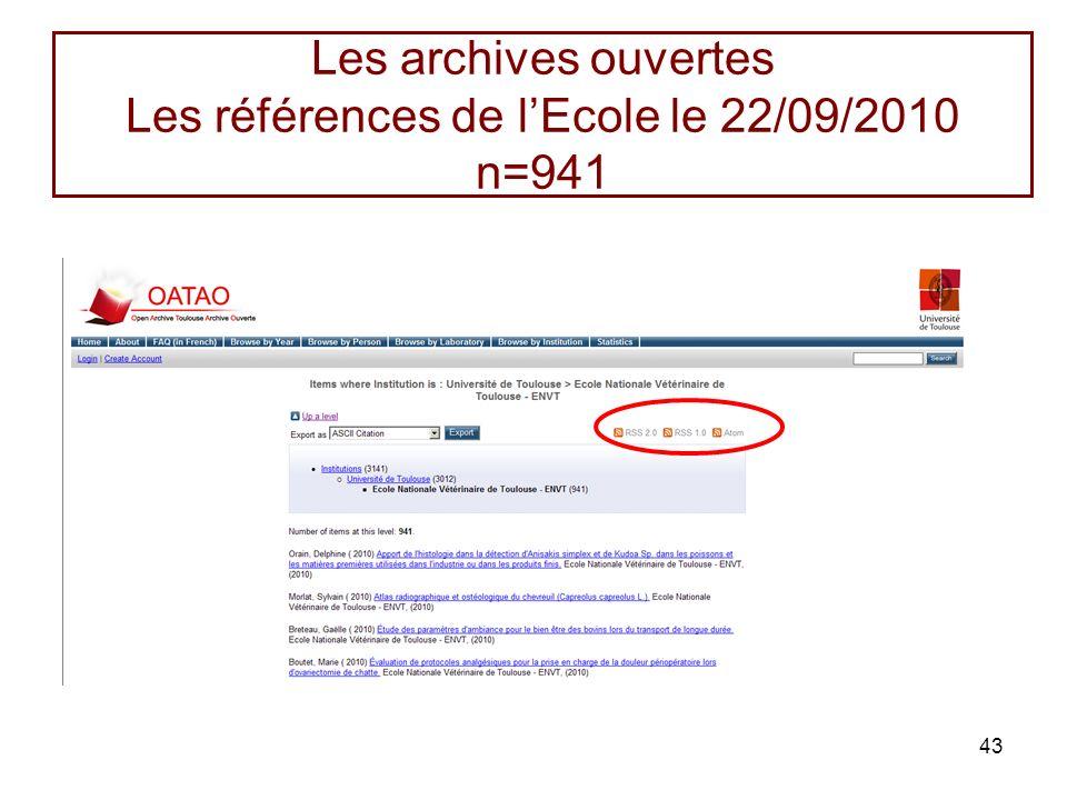 43 Les archives ouvertes Les références de lEcole le 22/09/2010 n=941