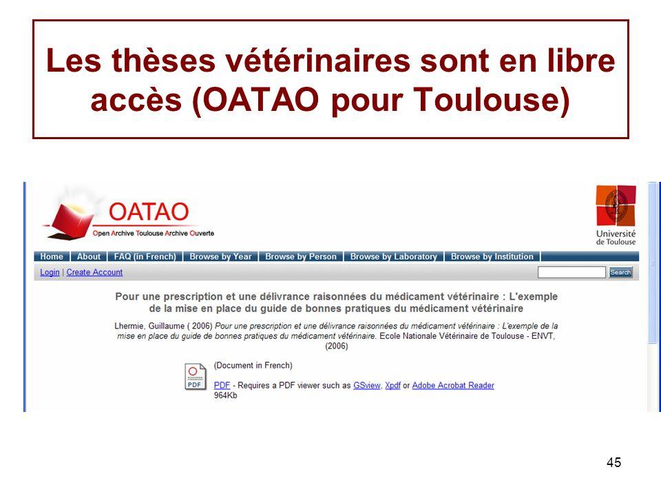 45 Les thèses vétérinaires sont en libre accès (OATAO pour Toulouse)