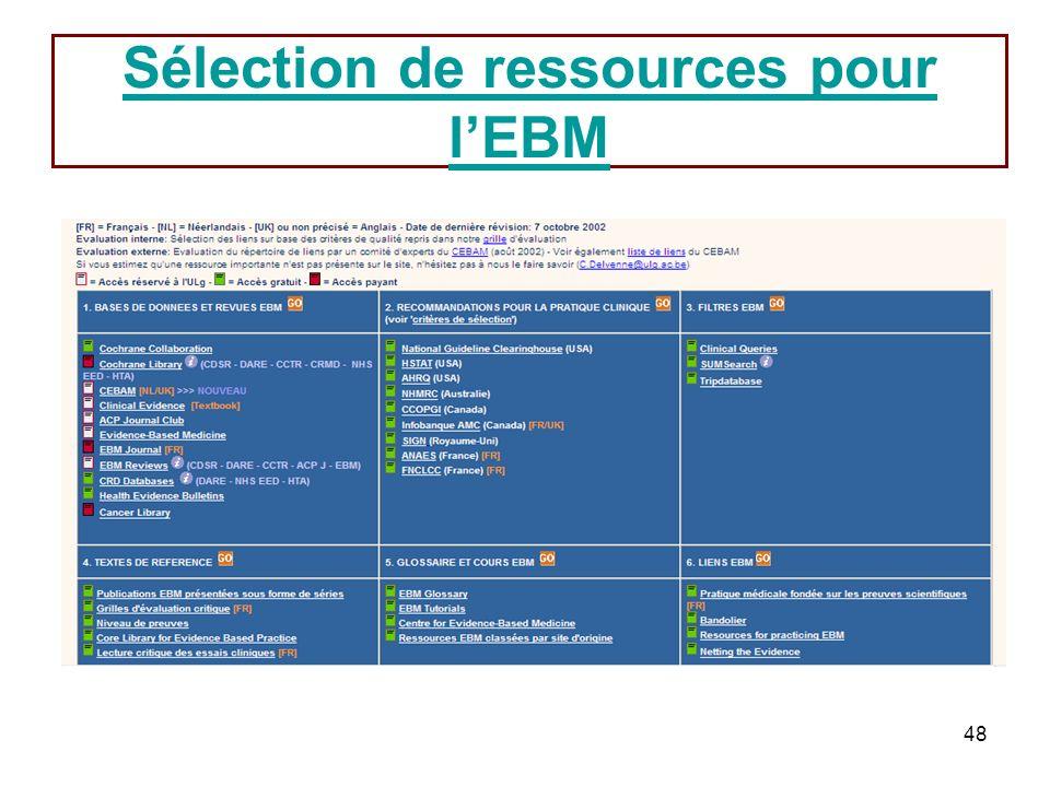 48 Sélection de ressources pour lEBM