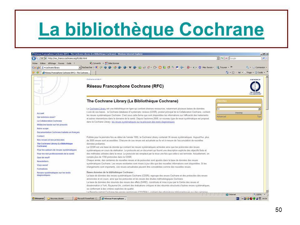 50 La bibliothèque Cochrane