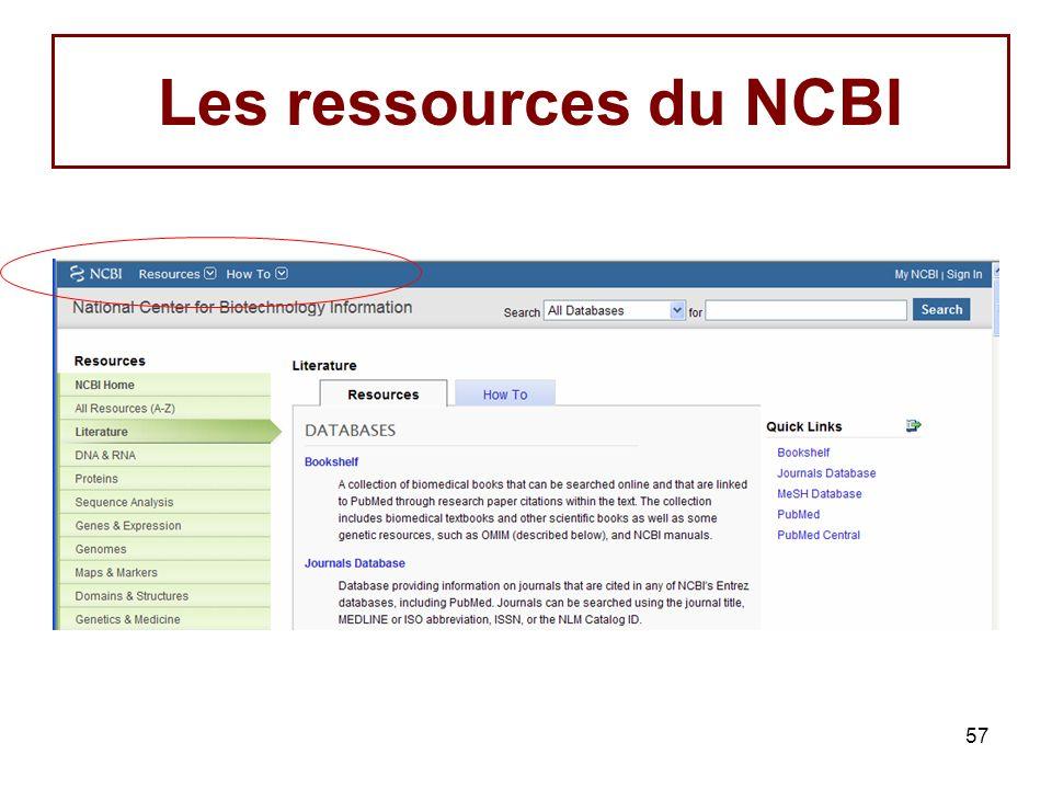 57 Les ressources du NCBI