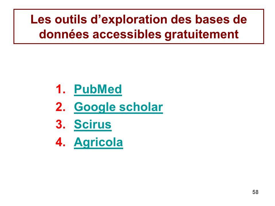 58 Les outils dexploration des bases de données accessibles gratuitement 1.PubMedPubMed 2.Google scholarGoogle scholar 3.ScirusScirus 4.AgricolaAgricola