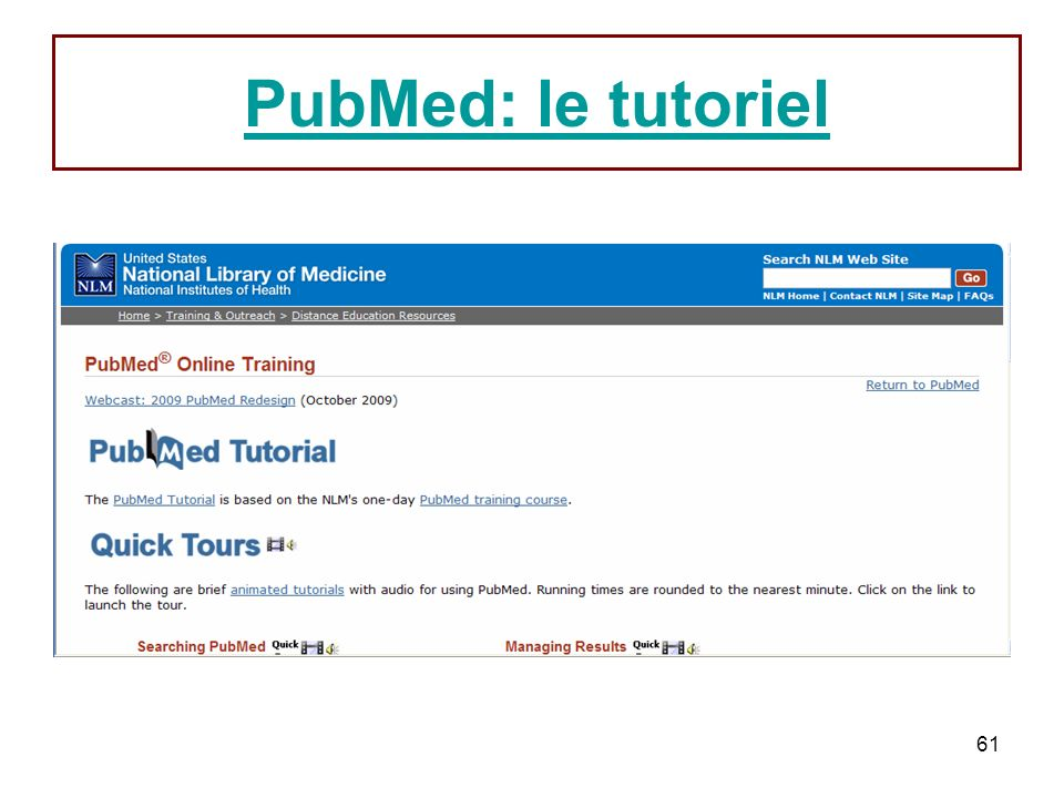 61 PubMed: le tutoriel