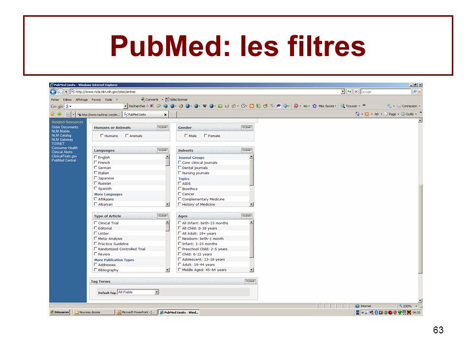 63 PubMed: les filtres