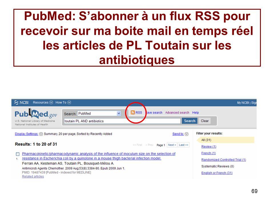 69 PubMed: Sabonner à un flux RSS pour recevoir sur ma boite mail en temps réel les articles de PL Toutain sur les antibiotiques