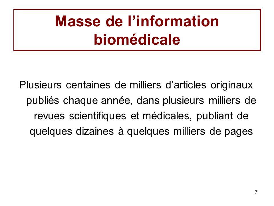 7 Masse de linformation biomédicale Plusieurs centaines de milliers darticles originaux publiés chaque année, dans plusieurs milliers de revues scientifiques et médicales, publiant de quelques dizaines à quelques milliers de pages