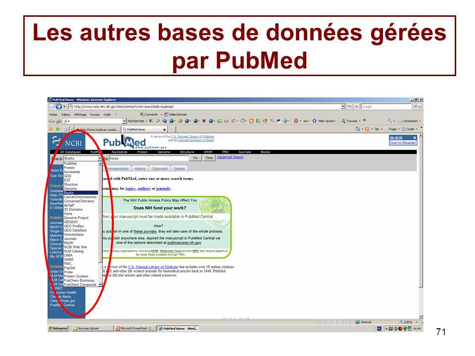 71 Les autres bases de données gérées par PubMed