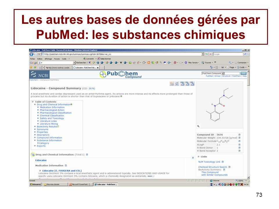 73 Les autres bases de données gérées par PubMed: les substances chimiques