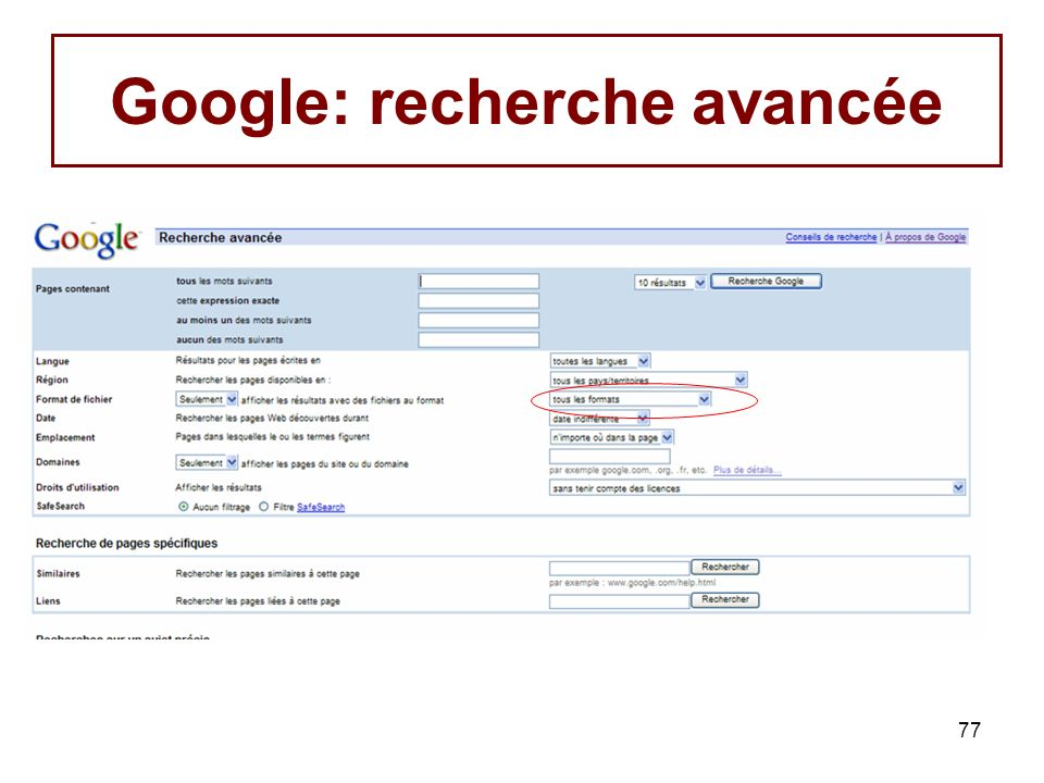 77 Google: recherche avancée