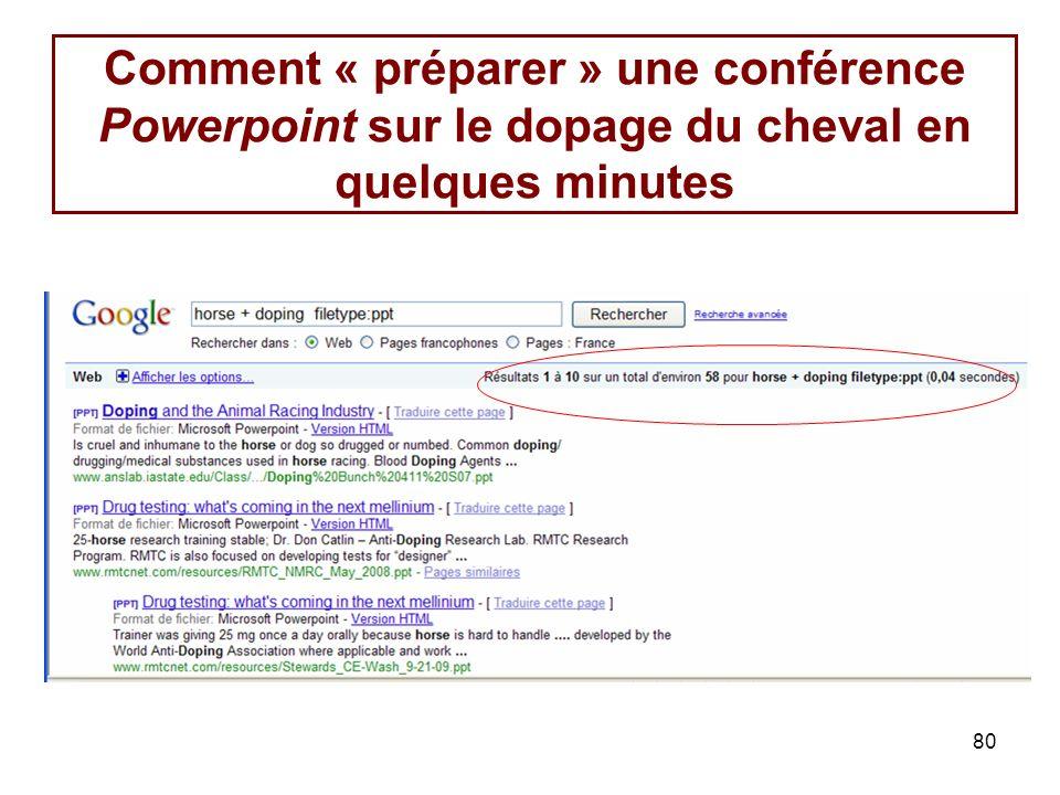 80 Comment « préparer » une conférence Powerpoint sur le dopage du cheval en quelques minutes