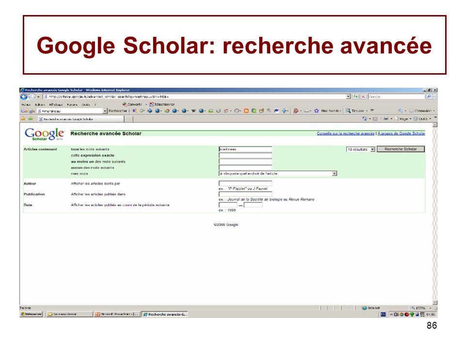 86 Google Scholar: recherche avancée