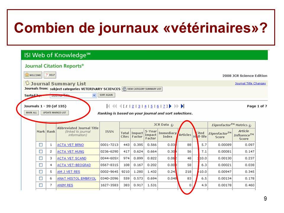 9 Combien de journaux «vétérinaires»?