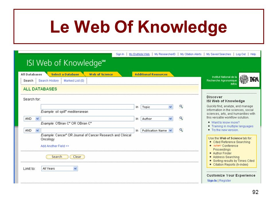 92 Le Web Of Knowledge